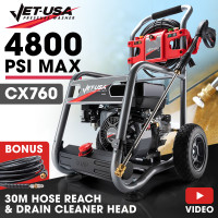 JET-USA 4800PSI Petrol Powered High Pressure Washer w/ 10m Hose Reach and Drain Cleaner - CX760 Gen IV