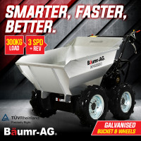 BAUMR-AG 6.5HP Mini Dumper Power Barrow Petrol-Powered with Galvanised Bucket