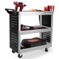 BULLET 3-Tier Steel Tool Trolley Cart Workshop, with Pegboard, Screwdriver Bay, Ruler, Black and Silver