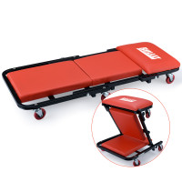 BULLET 2in1 Mechanics Folding Creeper Stool for Home Garage, Red