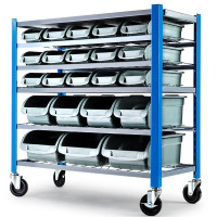 Baumr-AG 22 BIN Storage Shelving Tools Parts Rack Shelf Garage Workshop Wheels 5 Tier