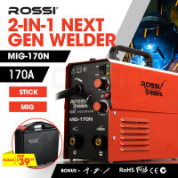 ROSSI 170 Amp Portable Inverter MIG Stick ARC Welder, with Carry Case and Accessories
