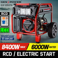GENPOWER 8.4kVA Max 6kVA Rated Generator Single-Phase Petrol - Portable RCD