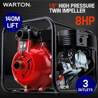 "PRE-ORDER WARTON 8HP 1.5"" 1"" Petrol High Pressure Water Transfer Pump Fire Irrigation"