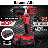 Baumr-AG 20V Lithium Cordless Power Drill Electric Drilling Screwdriver Tool