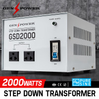 2000W GENPOWER Step Down Transformer 240V-110V Stepdown Voltage Converter AU-US