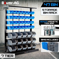 47 BIN Storage Shelving Tools Parts Rack Shelf Garage Workshop Metal 7 Tier