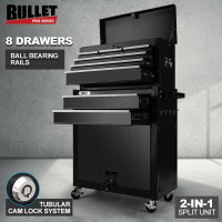 BULLET 8 Drawer Tool Box Cabinet Chest Storage Toolbox Garage Organiser Set Black