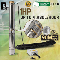 1HP Submersible Bore Water Pump Deep Well Irrigation Stainless Steel 240V
