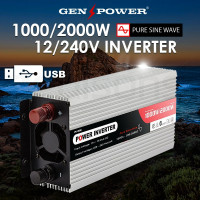 GENPOWER Pure Sine Wave 1000W/2000W 12V/240V Power Inverter Caravan Boat CarPlug
