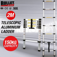 2m Telescopic Aluminium Ladder Alloy Extension Extendable Steps Multi Adjustable