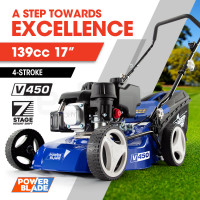 "POWERBLADE Lawn Mower 139CC 17"" - Petrol Powered Push Lawnmower 4 Stroke Engine"