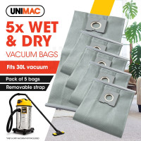 UNIMAC 5x - 30L Wet & Dry Vacuum Cleaner Filter bags Dust Replacement