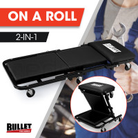 BULLET 2in1 Mechanics Folding Creeper Stool for Home Garage, Black