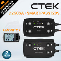 CTEK 140A Off Road DC/DC Charger System Combo with D250SA + Smartpass 120S + Battery Monitor