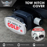 JAXSYN Novelty Towbar Trailer Hitch Cover Tow Bar - I'd rather be GOLF'n - with Hitch Pin