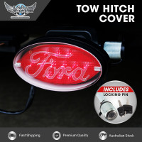 JAXSYN Novelty Tow-bar / Trailer Hitch Cover - Red Oval Ford logo Brake light - with Hitch Pin