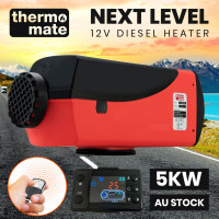 THERMOMATE 12V 5kW Diesel Air Heater for Caravan Camper Trailer Van Motorhome RV, Red