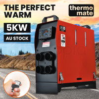 THERMOMATE 12V 5kW All-In-One Diesel Air Heater for Caravan Camper Trailer Van Motorhome RV, Red