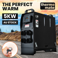 THERMOMATE 12V 5kW All-In-One Diesel Air Heater for Caravan Camper Trailer Van Motorhome RV, Black