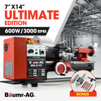 "BAUMR-AG 550W 7""x14"" Variable-Speed Mini Metal Lathe with LCD Display, Cutting Tool Set, Drill Chuck"