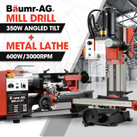 "BAUMR-AG 600W 7""x14"" Mini Metal Lathe and 350W Mill Drill Press Machine Combo"