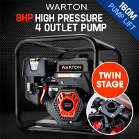 WARTON Petrol High Pressure Water Pump 8HP 4 Outlet for Irrigation and Fire Fighting - PRP-45P