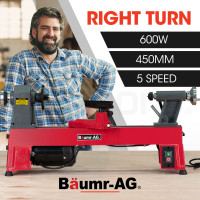 BAUMR-AG 600W 450 x 250mm Mini Wood Lathe Turning Machine