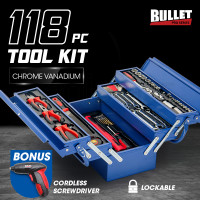 BULLET 118pc Metal Cantilever Tool Kit Box Set with Cordless Screwdriver, Blue