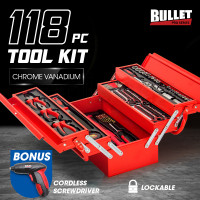BULLET 118pc Metal Cantilever Tool Kit Box Set with Cordless Screwdriver, Red