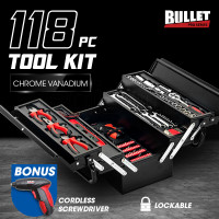BULLET 118pc Metal Cantilever Tool Kit Box Set with Cordless Screwdriver, Black