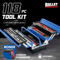 BULLET 118pc Metal Cantilever Tool Kit Box Set with Cordless Screwdriver, Blue & Black