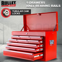 BULLET 9 Drawer Tool Box Chest Organiser Mechanic Garage Storage Toolbox Set