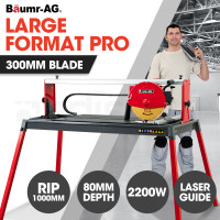 "BAUMR-AG 2200W 1000mm Electric Wet Tile Brick and Masonry Saw Cutter with 300mm (12"") Blade"