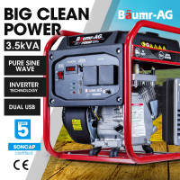 BAUMR-AG 3.5kVA Max 3.1kVA Rated Portable Open-Frame Inverter Generator