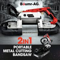 BAUMR-AG Portable Band Saw with Metal Cut Off Bench Stand