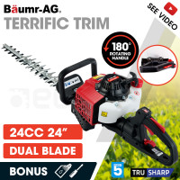 BAUMR-AG 24cc 2-Stroke Petrol Hedge Trimmer, TruSharp Blade, Swivel Handle