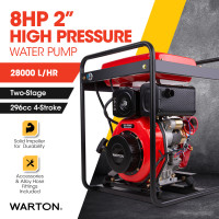 "WARTON 2"" 8HP High-Pressure Water Pump, Diesel-Powered"