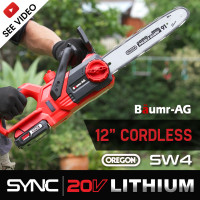 "Baumr-AG 20V Lithium-Ion 12"" Cordless Electric Chainsaw OREGON Bar and Chain"