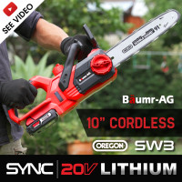 "Baumr-AG 20V Lithium-Ion 10"" Cordless Electric Chainsaw OREGON Bar and Chain"