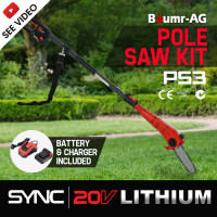 Baumr-AG 20V SYNC Lithium-Ion Cordless Pole Chainsaw with Battery and Charger Kit