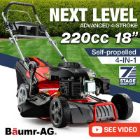 "BAUMR-AG Petrol Lawn Mower 220cc 18"" 4 Stroke Self Propelled - 780SX"