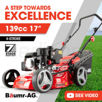 "Baumr-AG Lawn Mower 139CC 17"" Petrol Push Lawnmower 4-Stroke Engine Catch New"