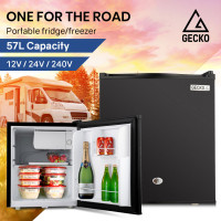 GECKO 57L Portable Camping Bar Fridge with Freezer 12V/24V/240V, Black