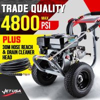 PRE-ORDER Jet-USA 4800PSI Petrol High Pressure Cleaner Washer w/ 30m Hose Reach and Drain Cleaner - TX770
