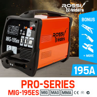 ROSSI 195Amp Welder MIG ARC MAG Welding Machine Gas / Gasless Portable 195A