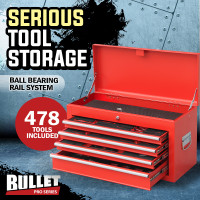 Red 478 Piece Box Chest Cabinet Tool Kit Set
