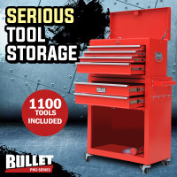 Red Box Storage Wheels Chest Cabinet Tool Kit Set