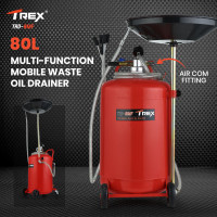 TREX 80L Mobile Waste Oil Drainer Tank, Telescopic, Pneumatic, Extractor Probes, Workshop