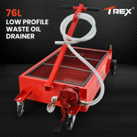 TREX 76L Low Profile Mobile Waste Oil Drainer, with Hand Discharge Pump, for Trucks, Workshop